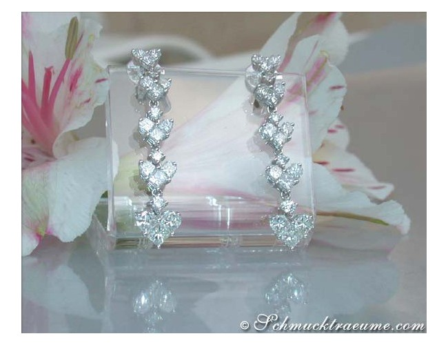 Fabulous Diamond Heart Dangling Earrings