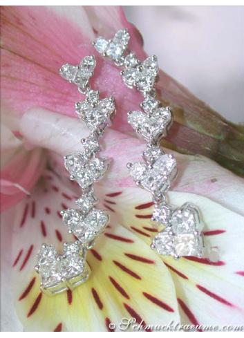 Fabulous Diamond Heart Dangling Earrings