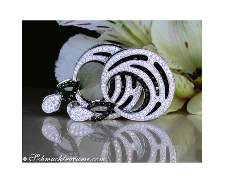 Ohrringe mit schwarzen Diamanten groß
