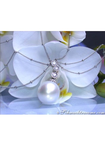 Multirow Southsea Pearl Necklace with Diamonds