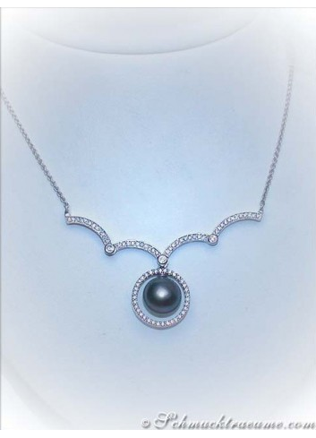 Variable Tahitian Pearl Diamond Necklace