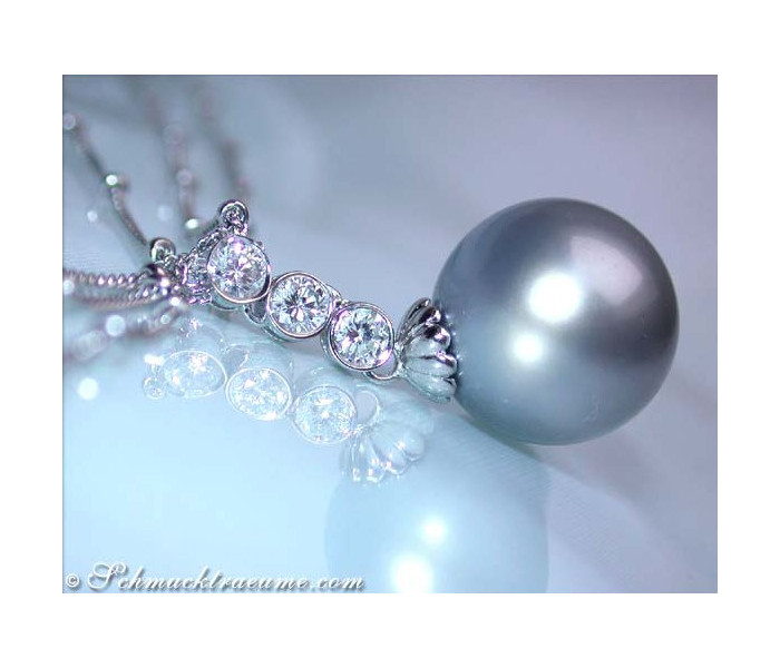 Three row Tahitian Pearl Necklace with Diamonds
