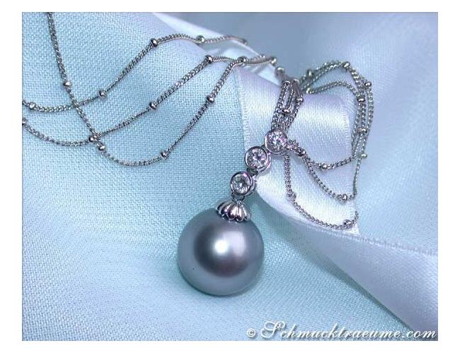 Three row Tahitian Pearl Necklace with Diamonds