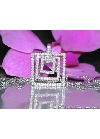 Attractive Diamond Square Pendant incl. Chain