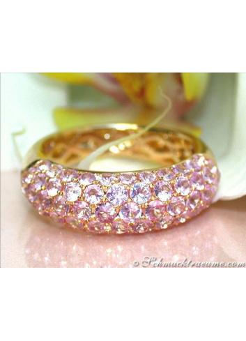 Elegant Pink Sapphire Pavé Ring