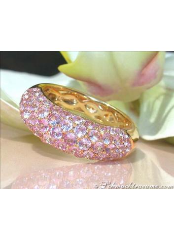 Rosa Saphir Pavé Ring in Gelbgold 585