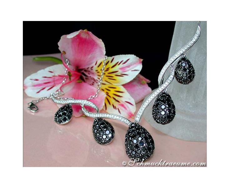 Brillanten Collier mit schwarzen Diamanten