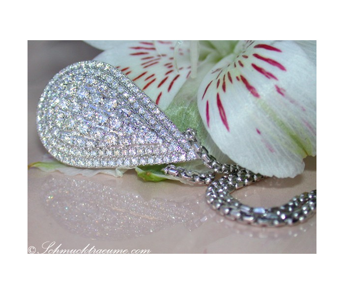 Magnificent Diamond Pear Necklace