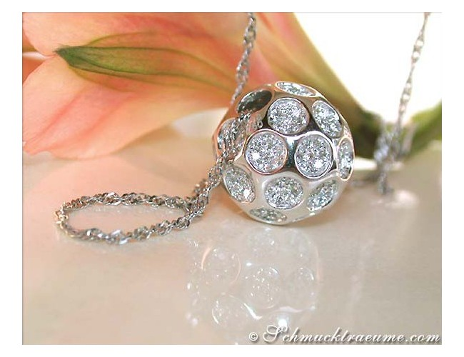 Exquisite Diamond Golf Ball Pendant incl. Chain