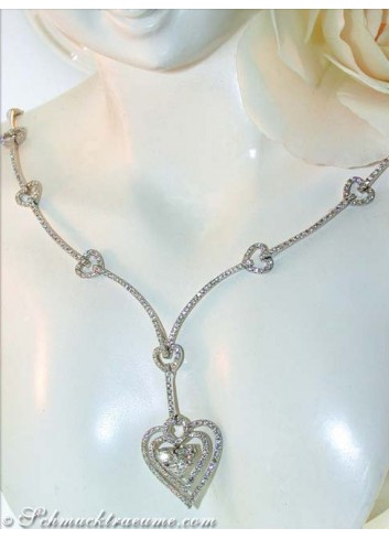 Exquisite Diamond Heart Necklace