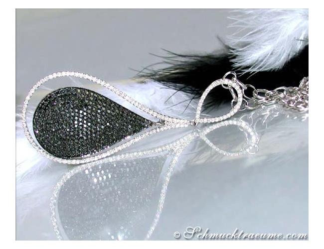 Exquisite Black & White Diamond Necklace