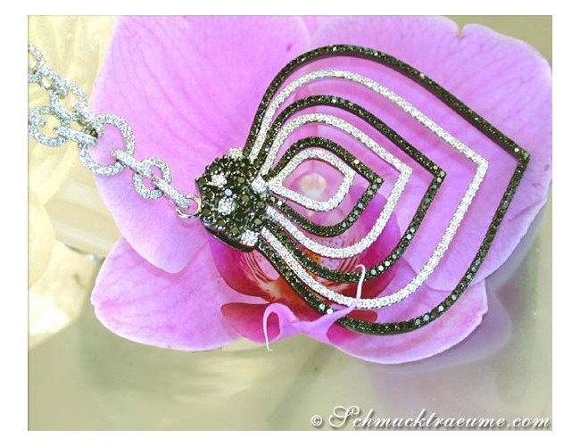 Schwarze Diamanten & Brillanten Collier
