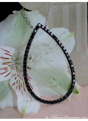 Pretty Black Diamond Pear Necklace