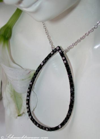 Pretty Black Diamond Pear Necklace