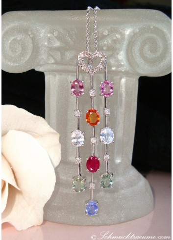 Beautiful Multicolor Gemstone Pendant incl. Chain