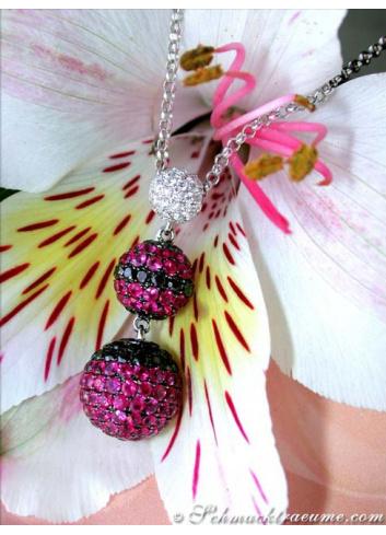 Halskette mit Rubinen Weißgold