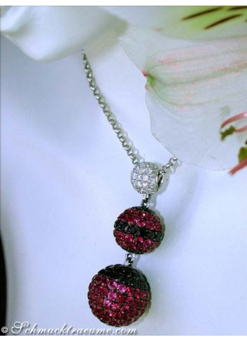 Attractive Necklace with Rubies & Black and White Diamonds