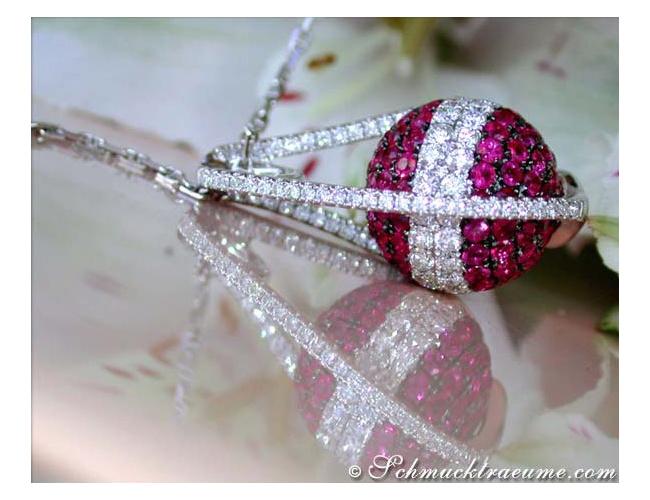 Rubin Halskette mit Brillanten