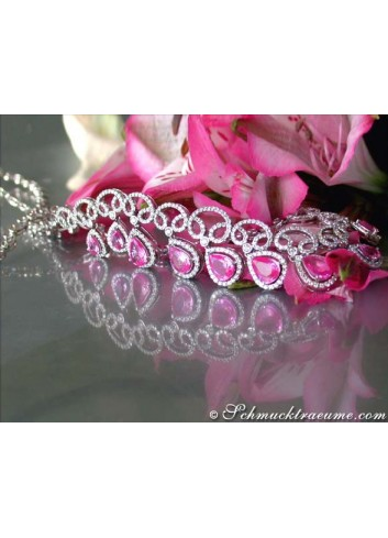 Luxurious Pink Sapphire Necklace with Diamonds