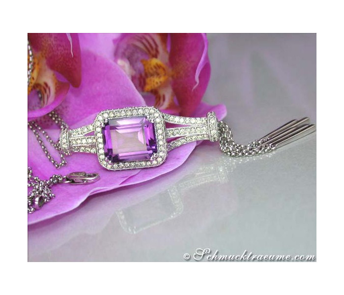 Superb Amethyst Necklace with Diamonds