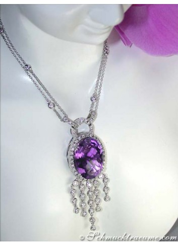 Attractive Amethyst necklace with diamonds