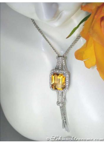 Unique Citrin Necklace with Diamonds