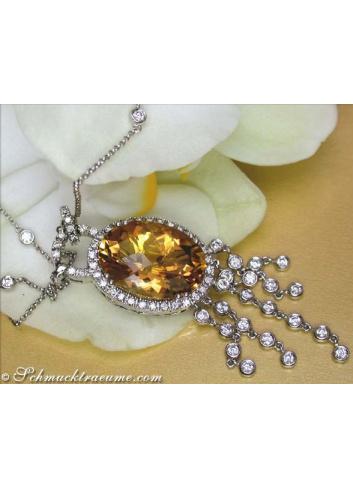 Splendid Citrine Necklace with Diamonds