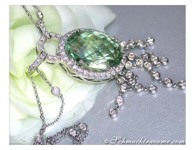 Attractive Prasiolite necklace with diamonds