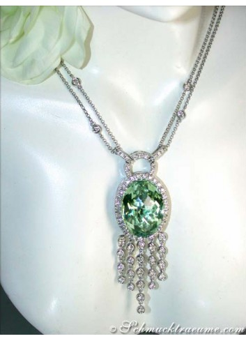 Attractive Prasiolite necklace with diamonds