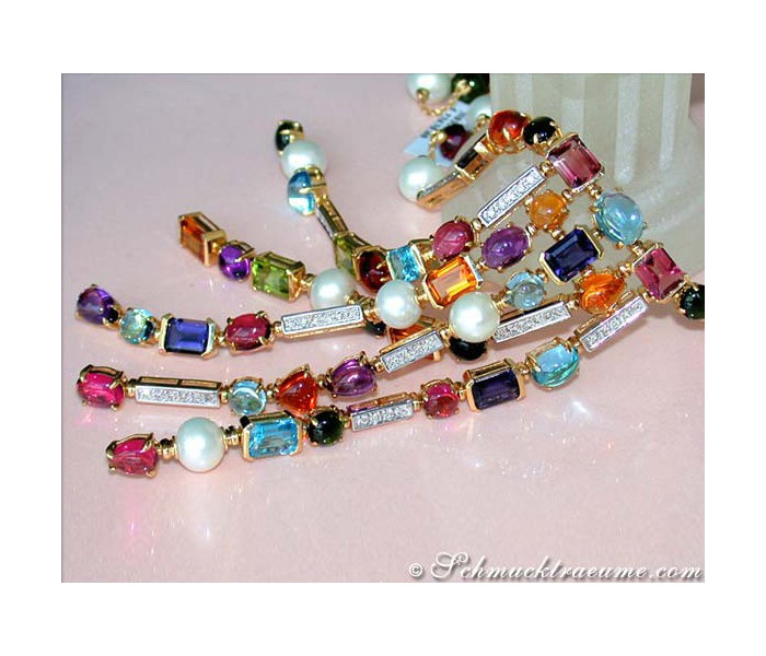 Tremendous Multicolor Gemstone Necklace with Diamonds & Pearls