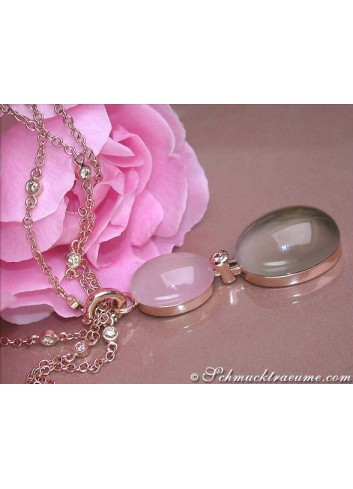 Magnificent Rose Quartz Smoky quartz diamonds necklace