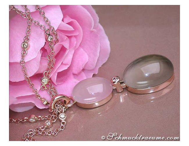 Magnificent Rose Quartz Smoky Quartz Diamond Necklace