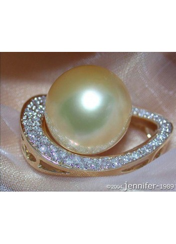 Golden Southsea Pearl Pendant with Diamonds (Mikimoto Design)