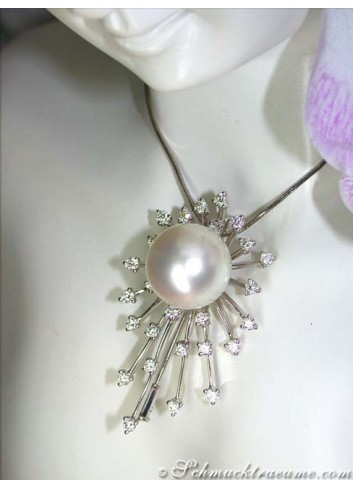 Opulent South Sea pearl pendant / brooch with diamonds