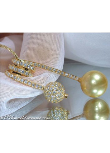 Unusual Golden Southsea Pearl Pendant with Diamond Pave Ball