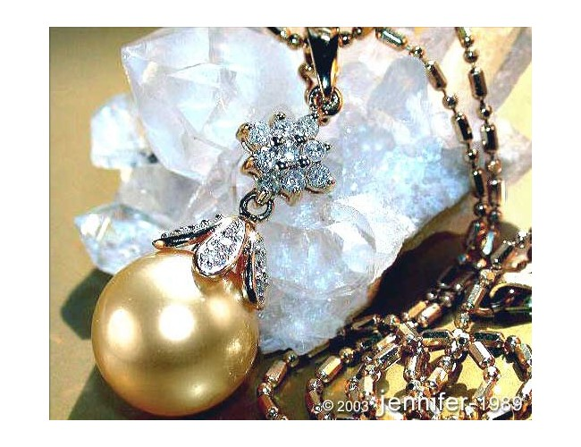 Golden Southsea Pearl Diamond Pendant