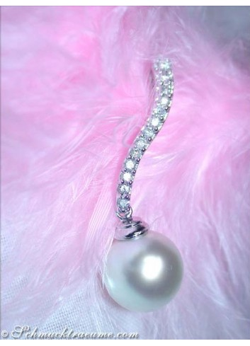 Enchanting Southsea Pearl Pendant with Diamonds