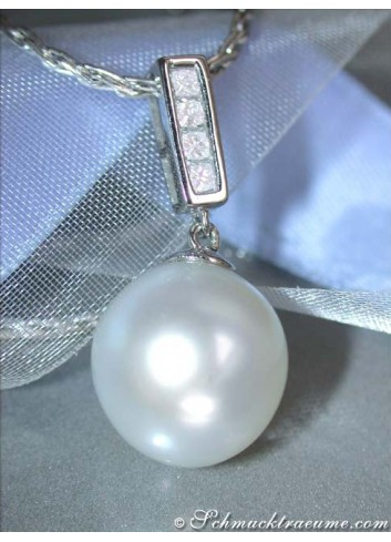 Classic Southsea Pearl Pendant with Diamonds in White gold 18k