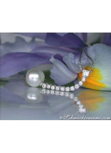 Extra long South Sea Pearl Pendant with Diamonds