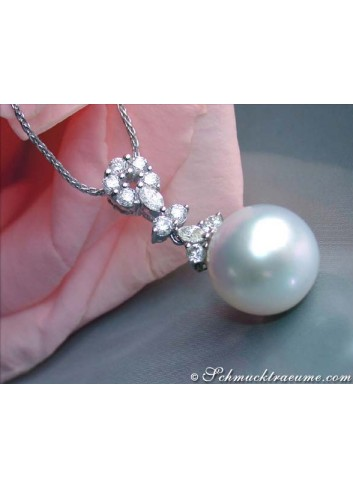 Picture Perfect Southsea Pearl Pendant with Diamonds