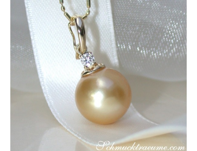 Pretty Golden Southsea Pearl Pendant incl. Chain
