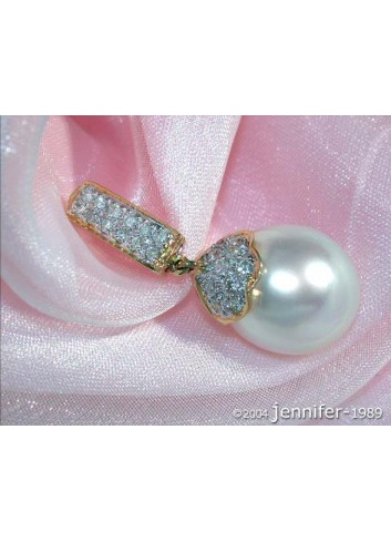 Classy Southsea Pearl Pendant with Diamonds