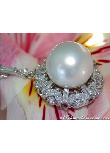 Glorious Southsea Pearl Pendant with Diamonds