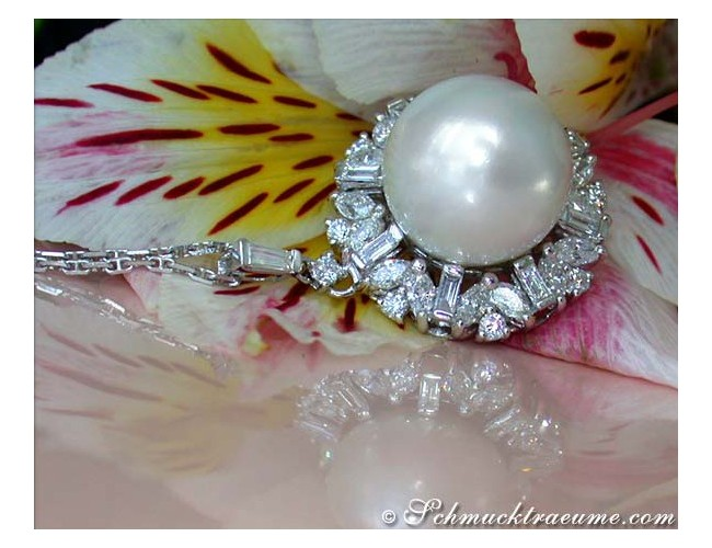 Glorious Southsea Pearl Pendant with Diamonds (14 mm)