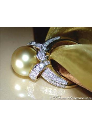 Gorgeous Golden Southsea Pearl Diamond Ring