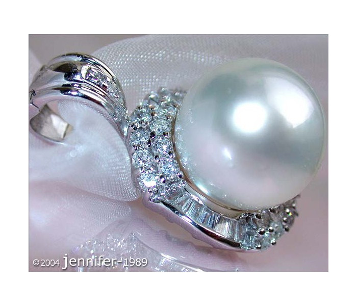 Elegant Southsea Pearl Pendant with Diamonds (13 - 14 mm)