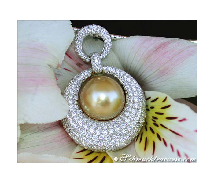 High-end Golden Southsea Pearl Pendant with Diamonds