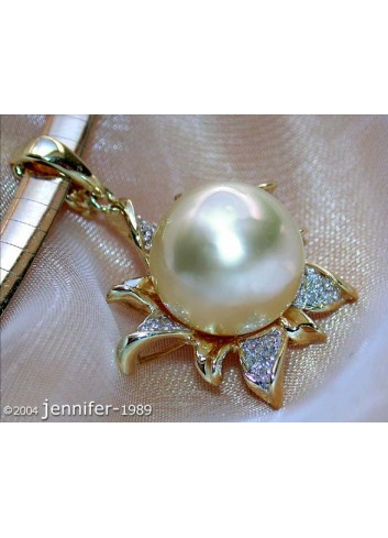 Pretty Golden Southsea Pearl Pendant with Diamonds