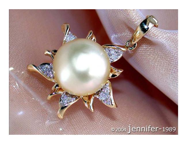 Pretty Golden Southsea Pearl Pendant with Diamonds