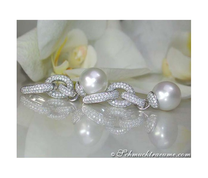 Convertible Southsea Pearl Diamond Earrings & Pendant